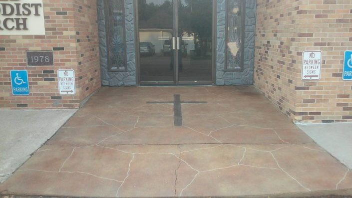 United Methodist Church in Parker Sd acid stained concrete with flagstone and cross pattern