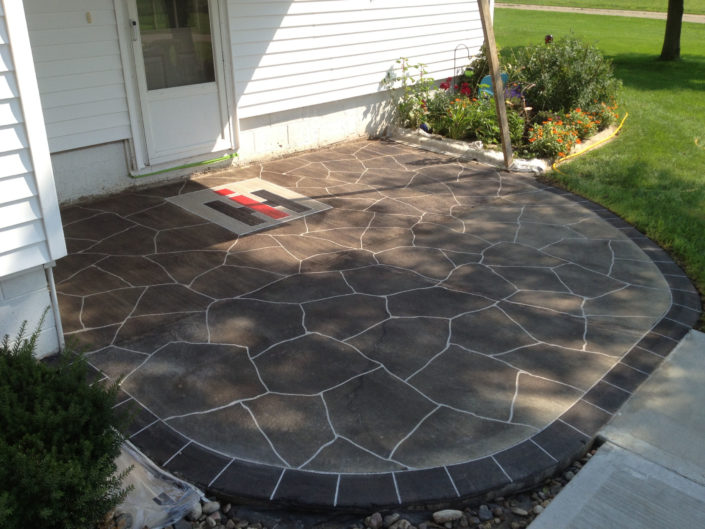 Flagstone Entryway with custom Logo & Borders
